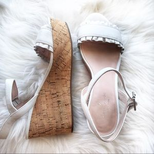Kate Spade Leather white Tomas Cork Wedge sandals